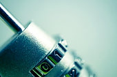 combination padlock in blur style for security concept background