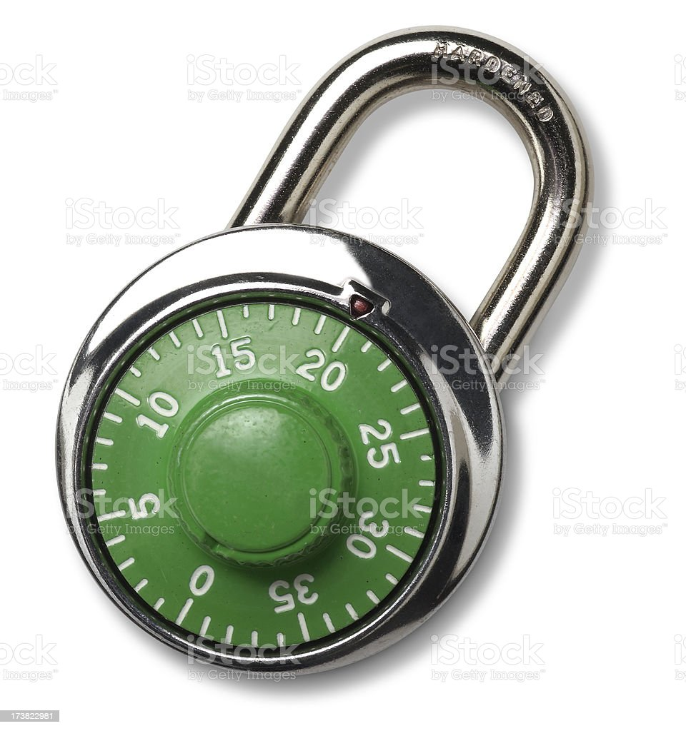 Combination Padlock, isolated royalty-free stock photo