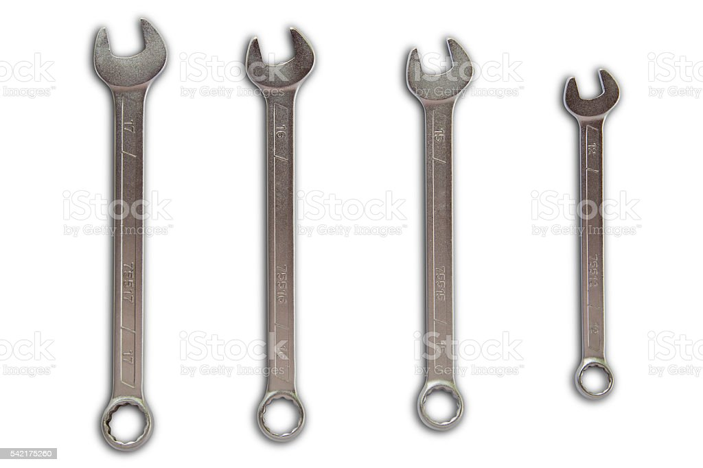 Combination wrench isolate on white with clipping path stock photo