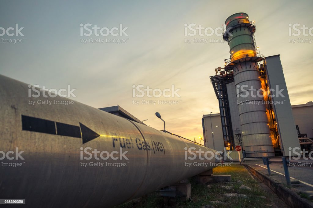 Combine cycle power plant with clear sky stock photo