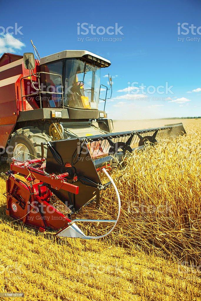 combine harvester close up stock photo