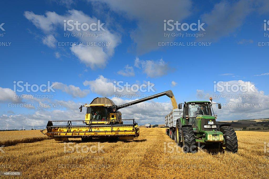 Combine Harvester unloads Grain into Tractor Trailer stock photo