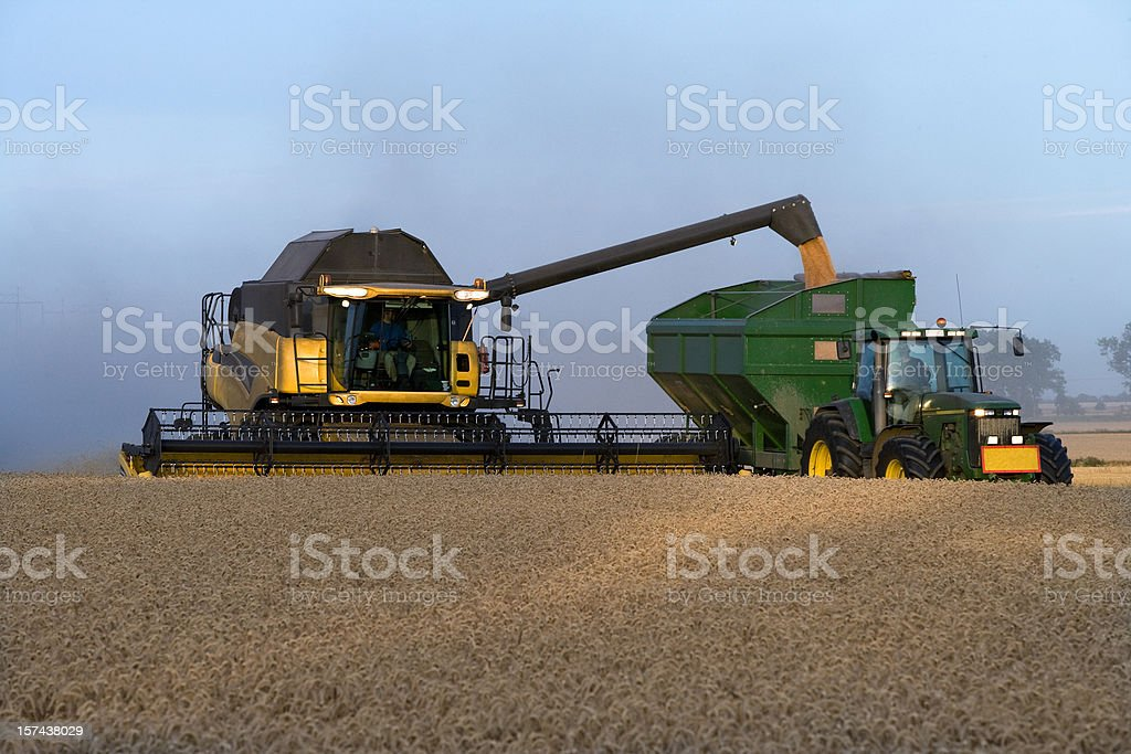 Combine on a field of wheat royalty-free stock photo