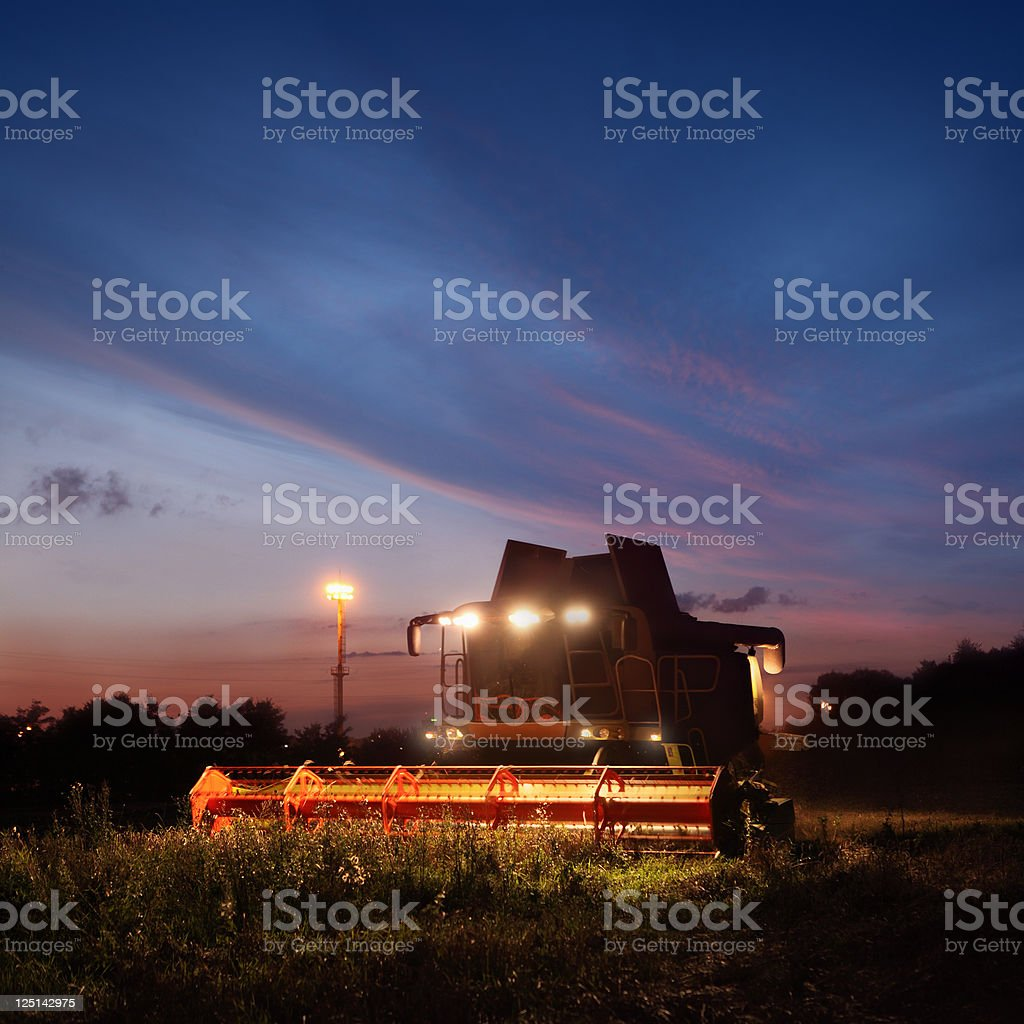 Combine working on the field by night stock photo