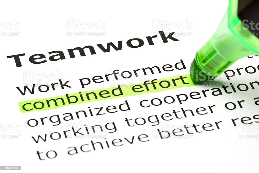 Combined effort highlighted, under Teamwork royalty-free stock photo