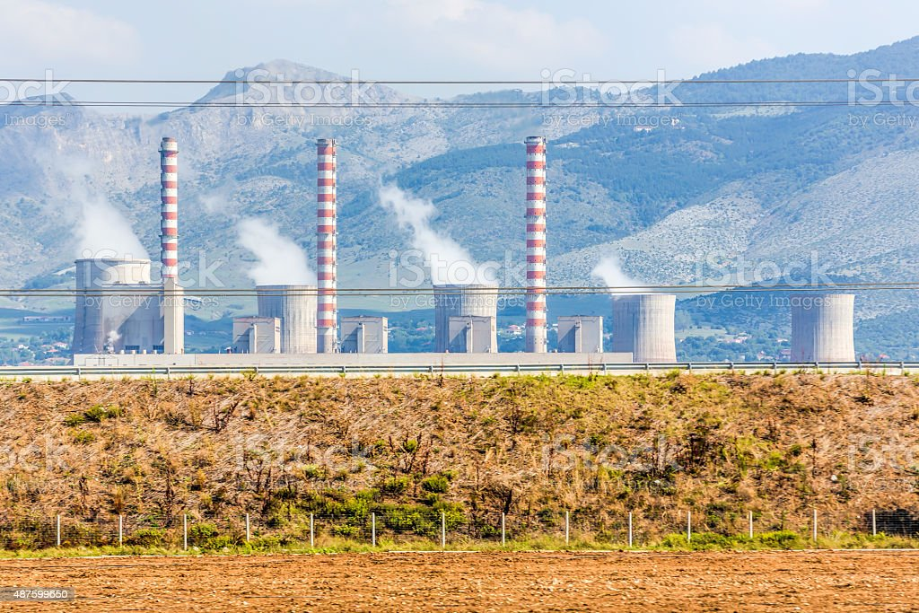 combined heat and power plant, electrical station stock photo