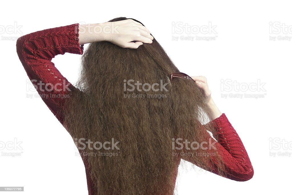 Combing Hair stock photo