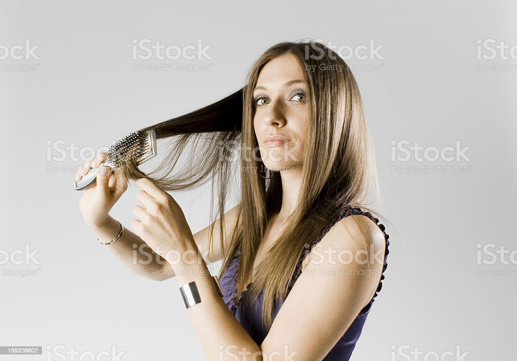 combing my hair royalty-free stock photo