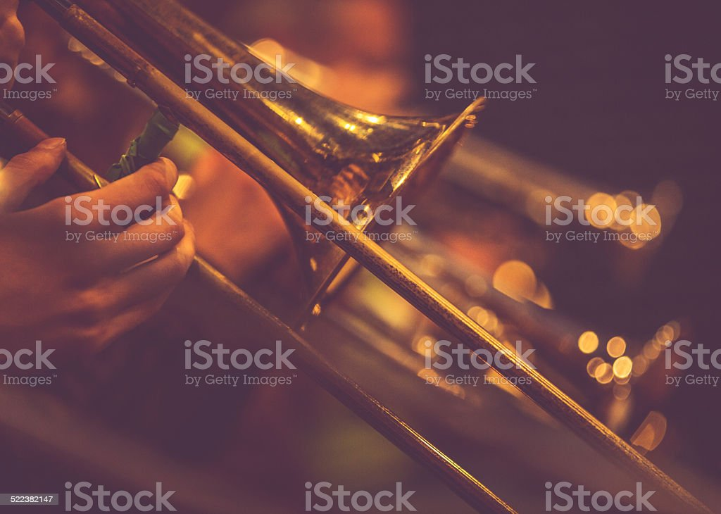 Combo of Trumpet Players Playing Live stock photo