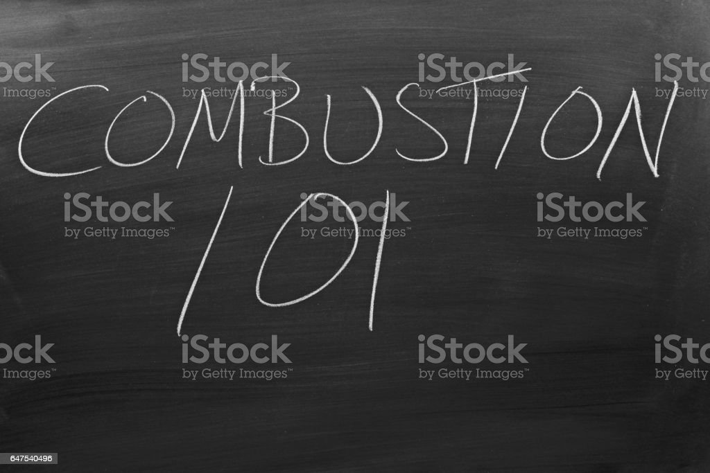 Combustion 101 On A Blackboard stock photo