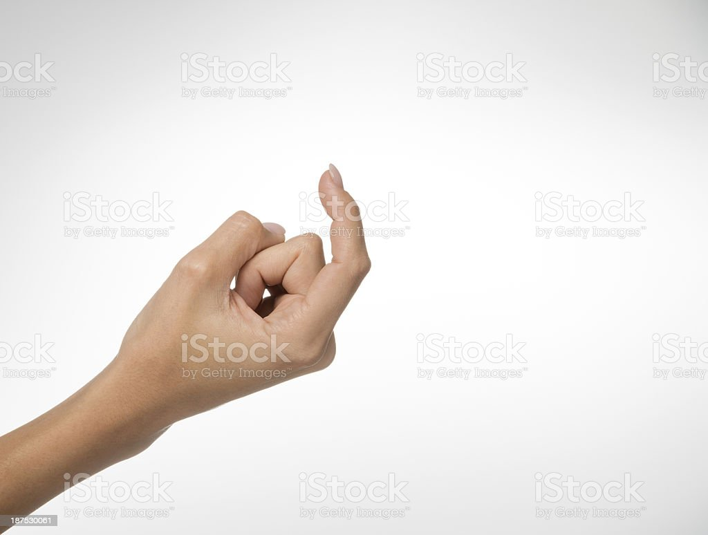 Come here, Beckoning Hand Gesture stock photo
