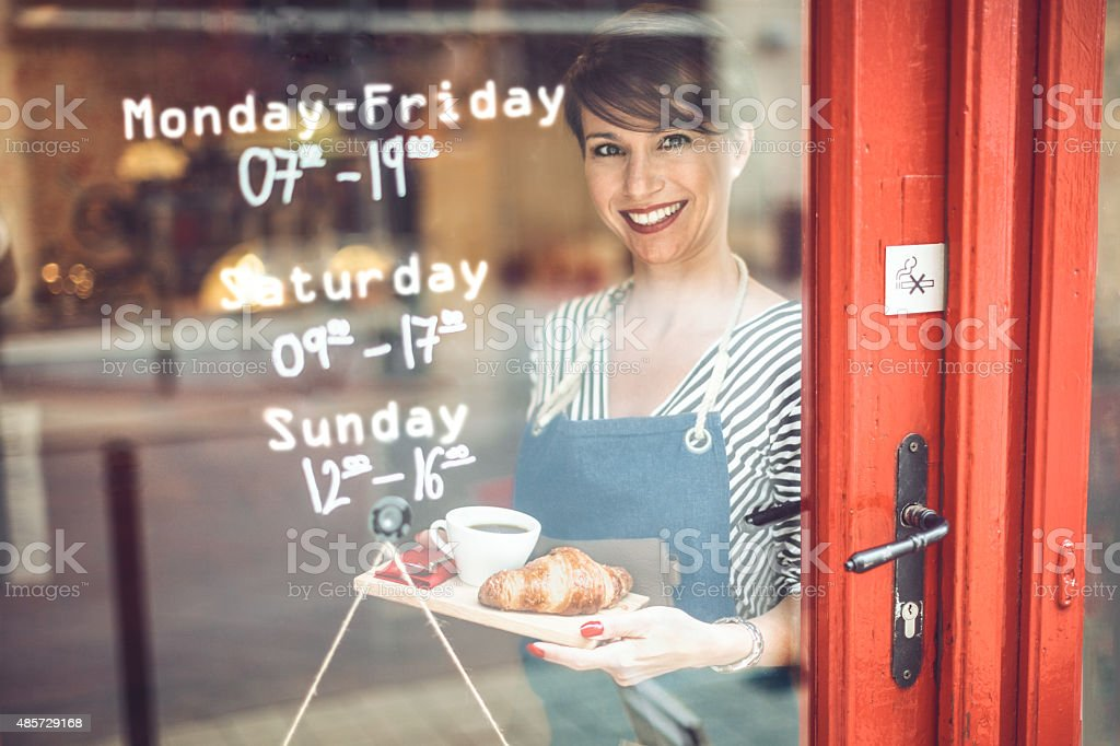 Come in for a tasty breakfast! stock photo