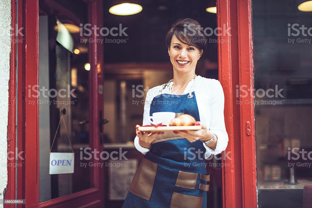 Come in for a tasty breakfast stock photo