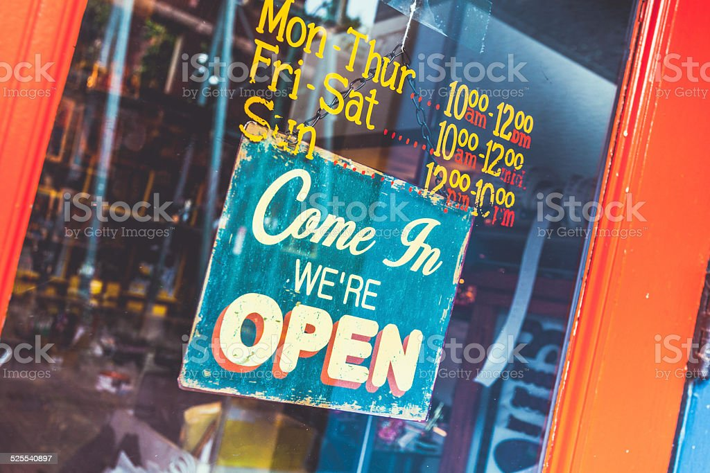 Come In we are Open Shop Sign stock photo