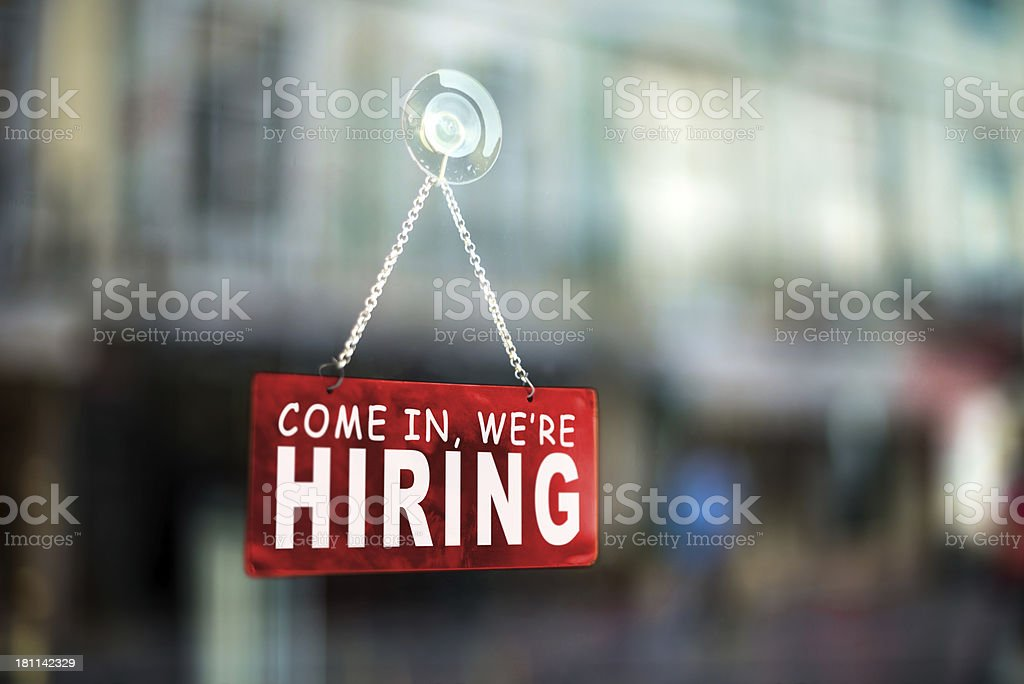 come in we're hiring stock photo