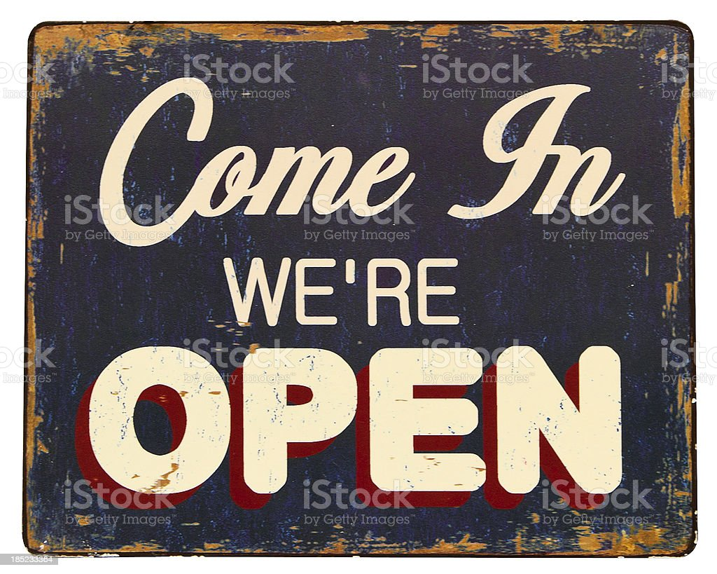 come in we're open royalty-free stock photo