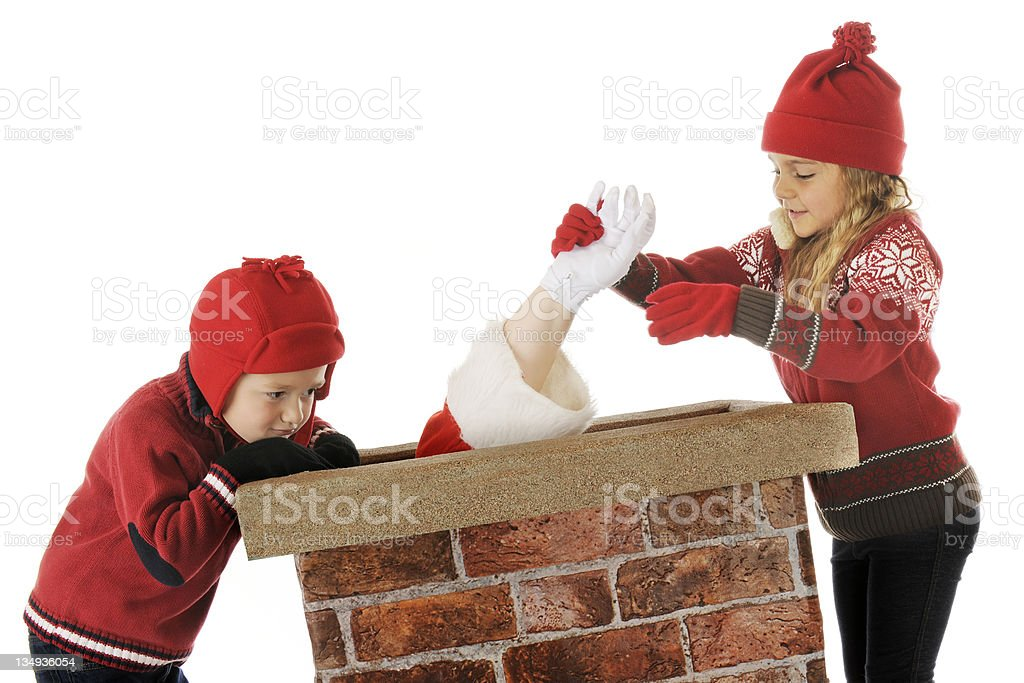 Come On, Santa!  You Can Do It! royalty-free stock photo