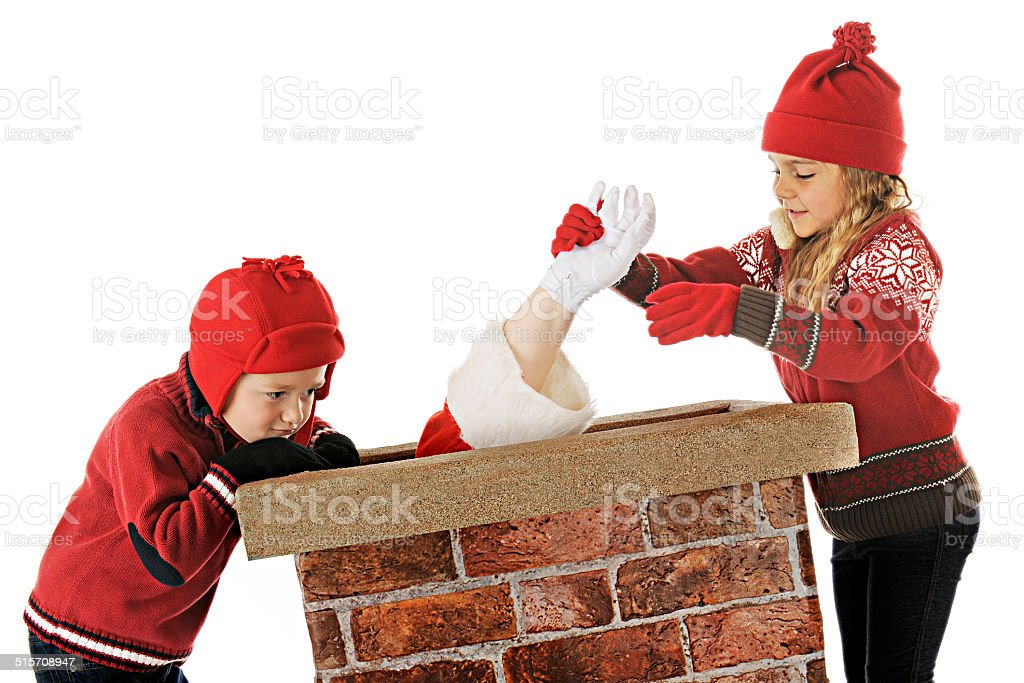 Come On, Santa!  You Can Do It! stock photo