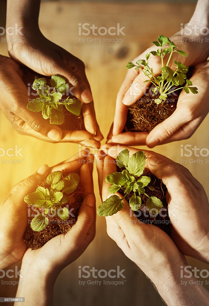 Come together and save our planet stock photo