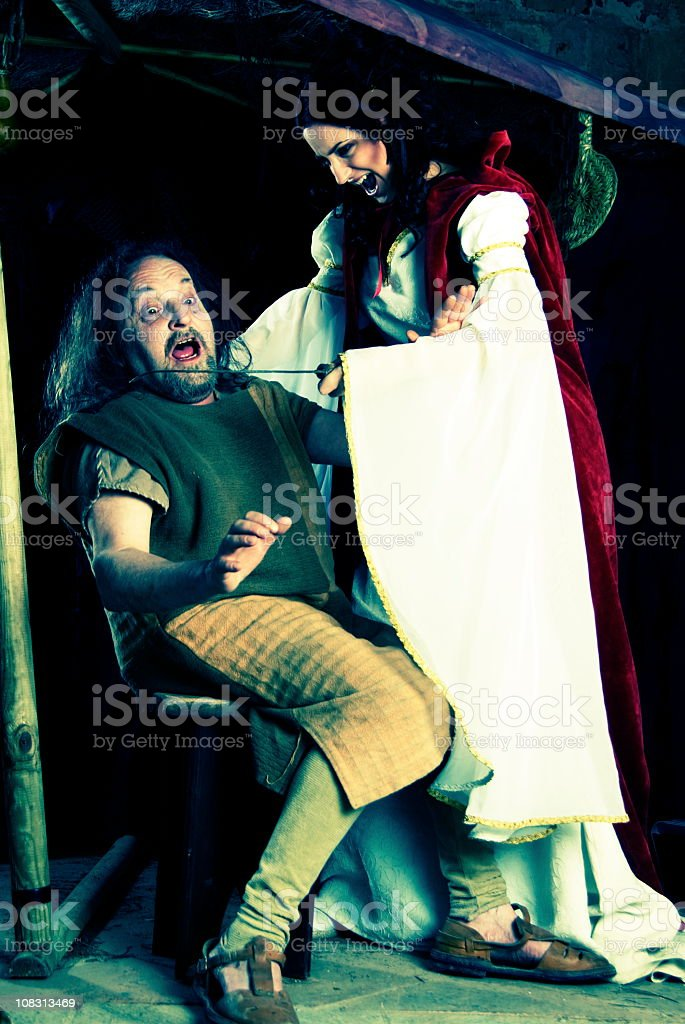 Comedy fighting with a blade stock photo