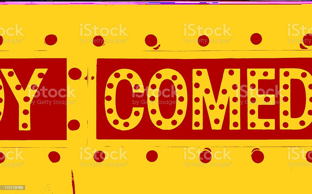 comedy in lights sign royalty-free stock photo