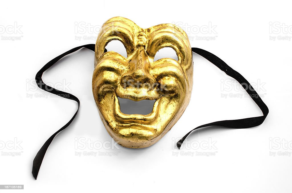 Comedy mask on white stock photo