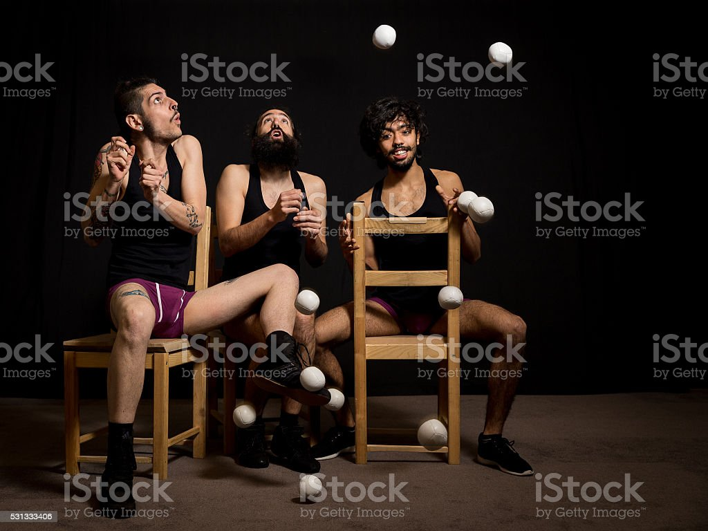 Comedy show by circus jugglers stock photo