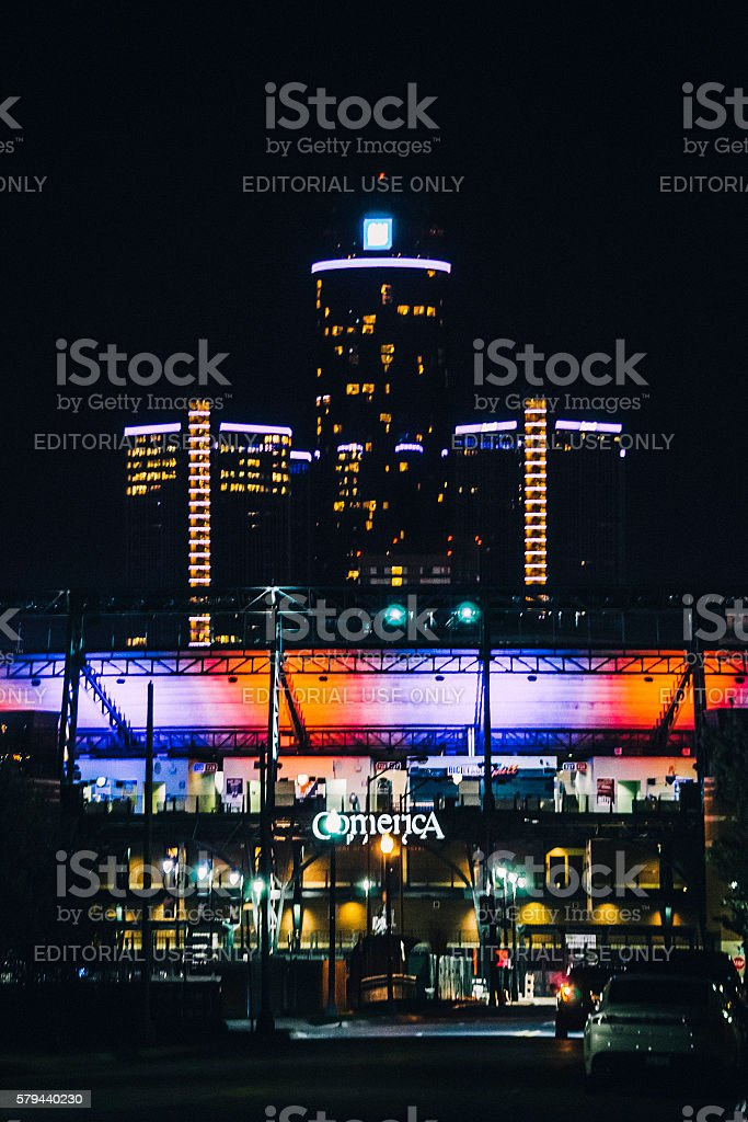 Comerica Park and General Motors headquarter. stock photo