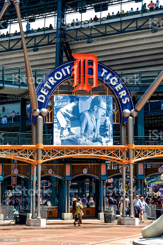 Comerica Park, Home of the Tigers in downtown Detroit MI stock photo