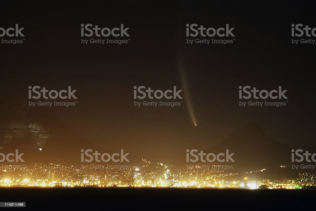 Comet over Cape Town royalty-free stock photo
