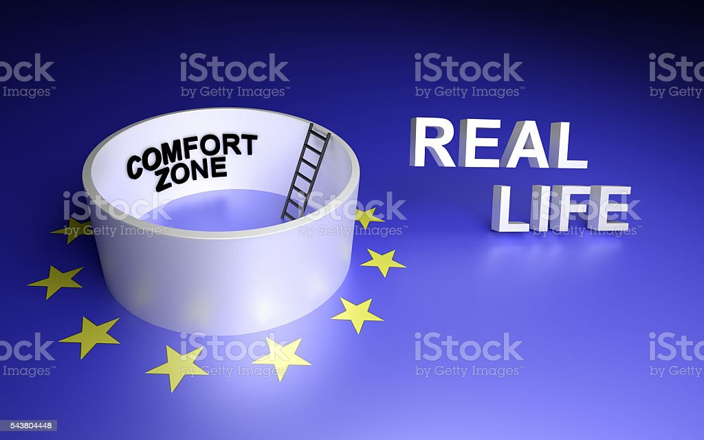 Comfort zone and real life stock photo