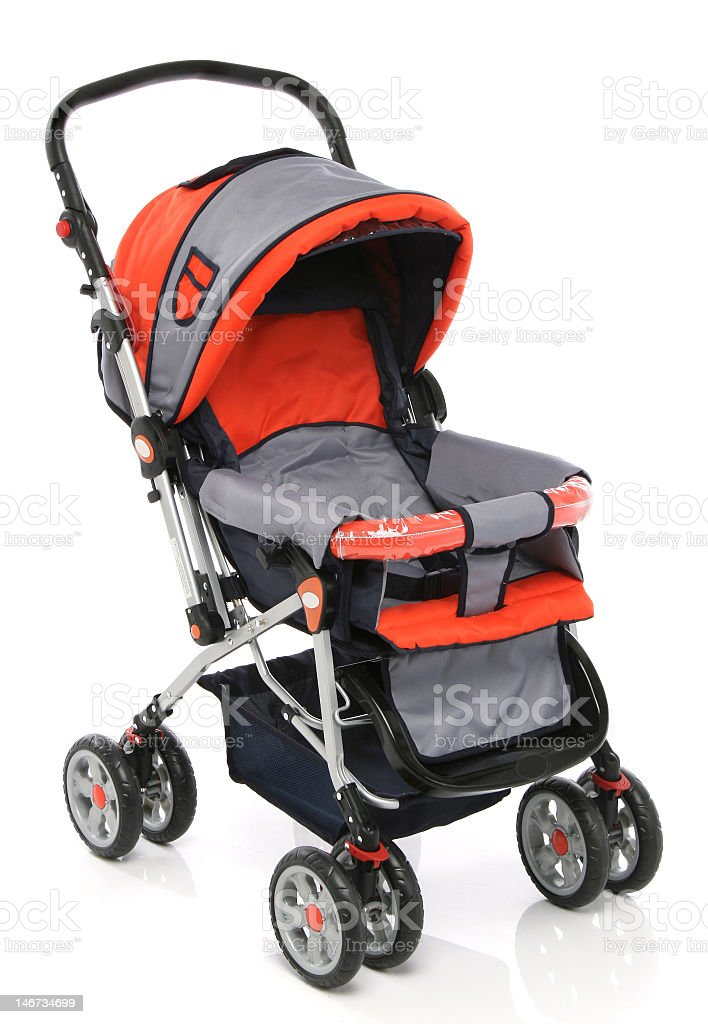 Comfortable baby carriage model in grey and orange stock photo
