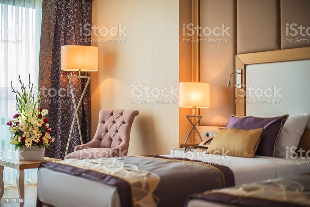 Comfortable bedroom stock photo