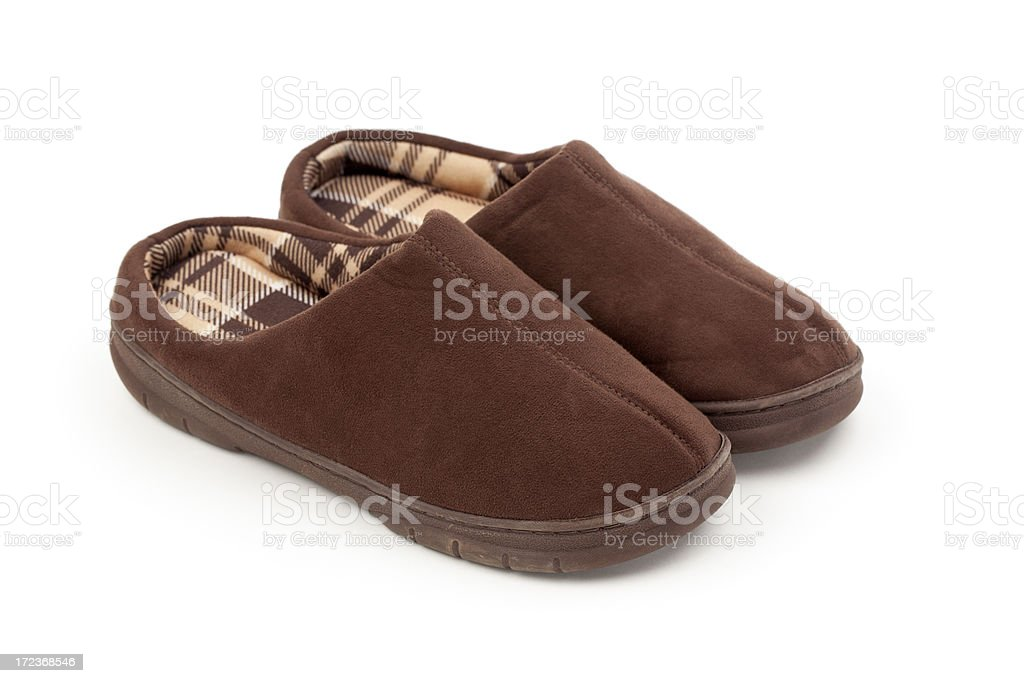Comfortable Brown Slippers royalty-free stock photo