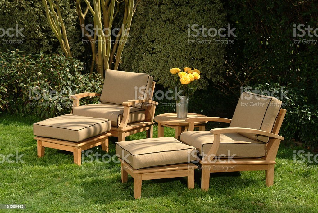 Comfortable classic garden chairs royalty-free stock photo