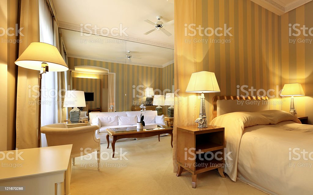 comfortable classic living room, view from bedroom stock photo