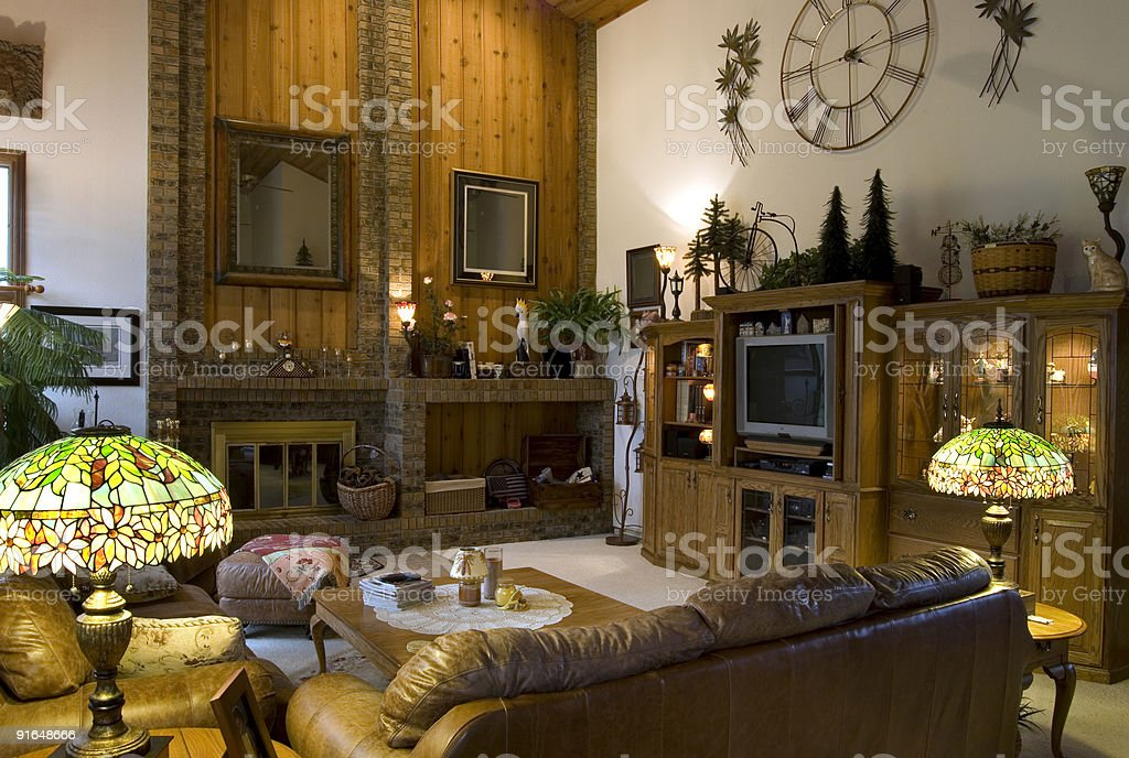 A comfortable contemporary looking living room stock photo