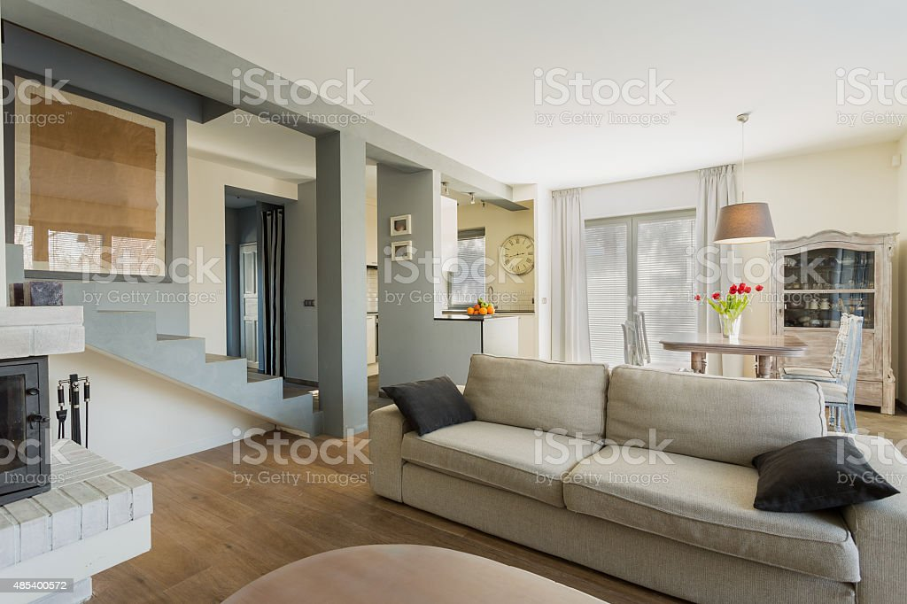 Comfortable couch in room stock photo