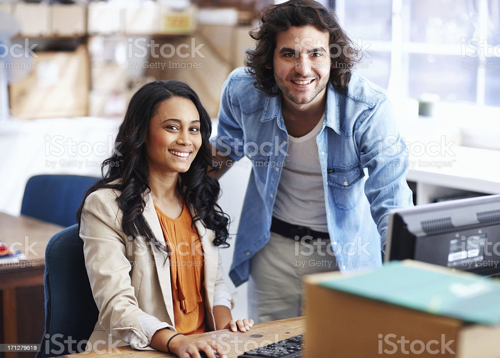 Comfortable, creative colleagues royalty-free stock photo