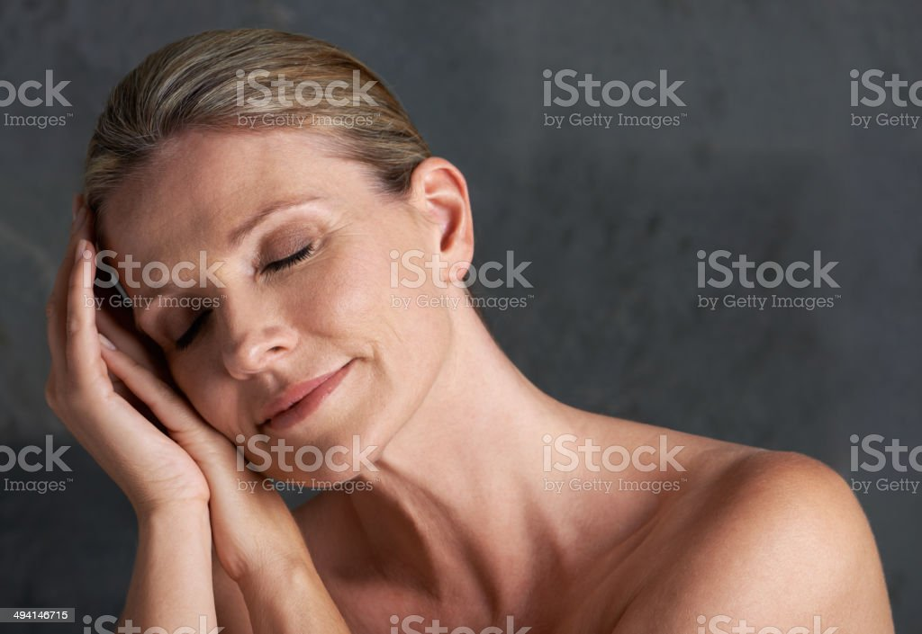 Comfortable in her own skin stock photo