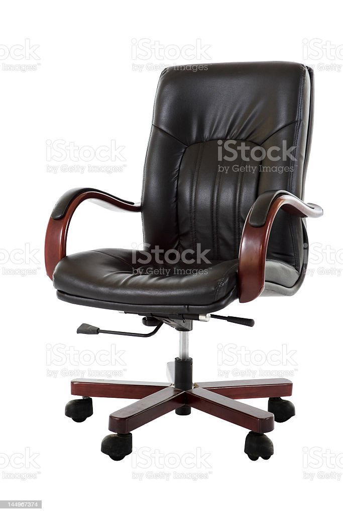 Comfortable leather business chair isolated in white royalty-free stock photo