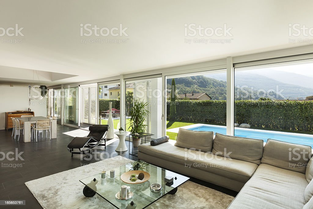 A comfortable living room of a house in the mountains  royalty-free stock photo