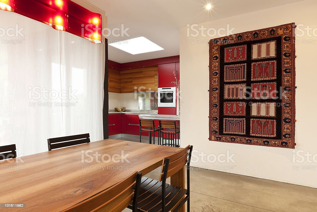 comfortable modern apartment, dining table royalty-free stock photo