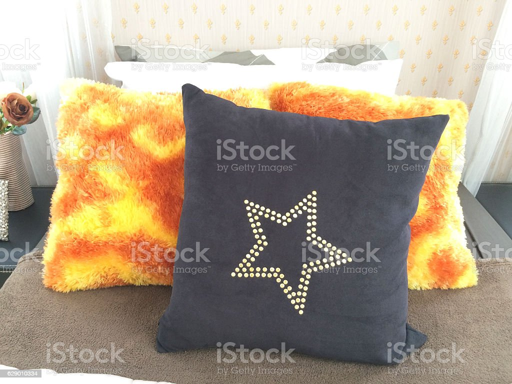 Comfortable  pillow on bed stock photo