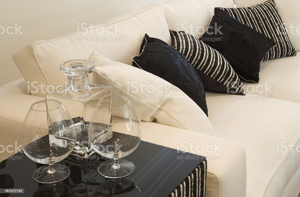 comfortable sofa and drinks royalty-free stock photo