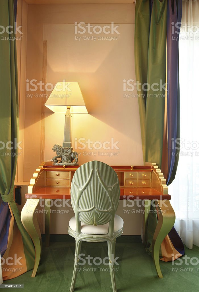 comfortable suit, table and lamp royalty-free stock photo
