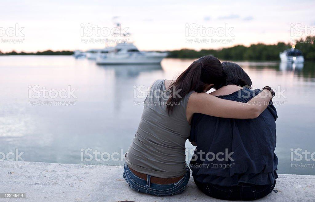 Comforting friend stock photo