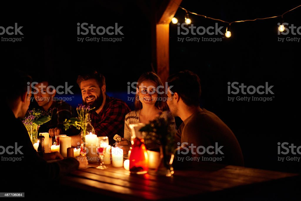 Comfy dining outdoor stock photo