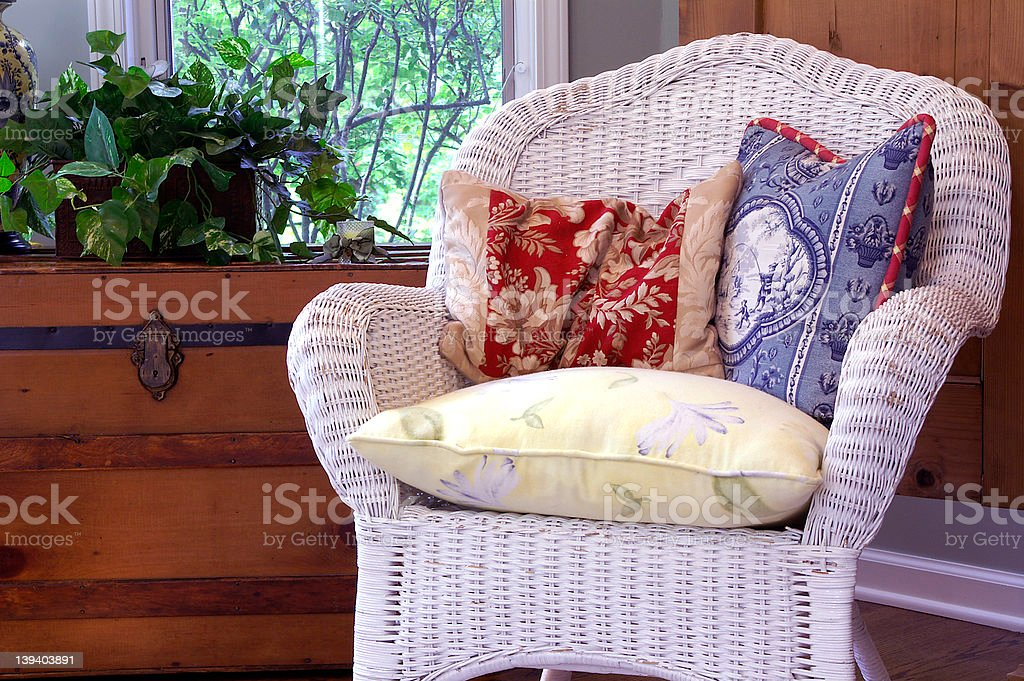 Comfy wicker chair royalty-free stock photo
