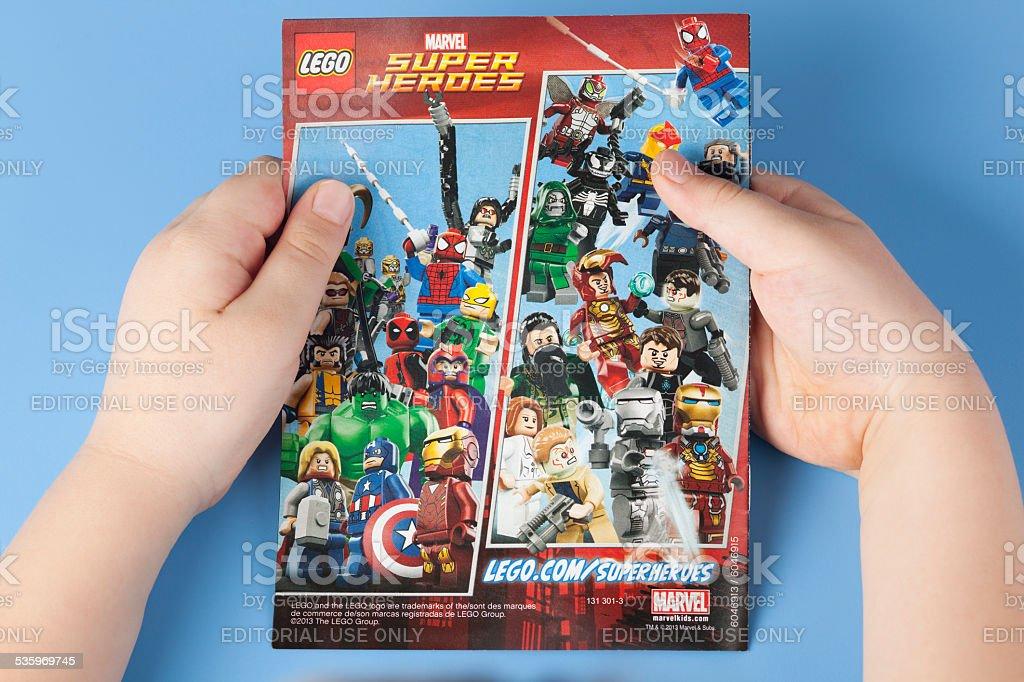 Comic book Lego Marvel Super Heroes stock photo